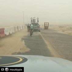#Repost @mouldypix  Racing in Dubai isn't all sunshine and flat roads!  @dubaitour @oneprocyclingofficial  #VisionTechUsa  #VisionWheels  #brutal #winds  #sandstorm