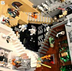 """Paródia da obra """"Realitivity"""", com elementos da saga Star Wars, utilizando peças de LEGO - by modelador Paul Vermeesch."""