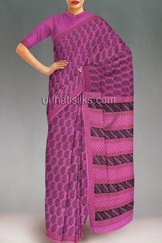 Online shop for office purple Maheshwari handloom cotton saree with blouse