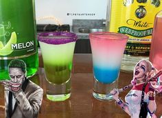 Harley Quinn Shot - For more delicious recipes and drinks, visit us here: www.tipsybartender.com
