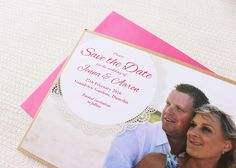 Beautiful kraft-layered Save the Date card with doily and pink envelope