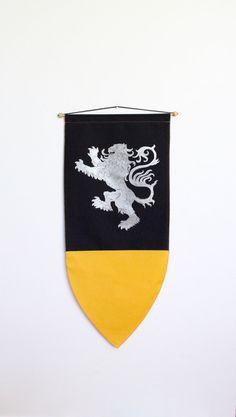 Lion Banner Flag Medieval Drawing Illustration by beachwolfvintage