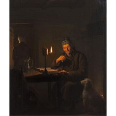 Artwork by Petrus van Schendel, A QUIET NIGHTCAP, Made of oil on canvas