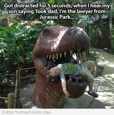 Lawyer from Jurrasic Park distracted for five seconds