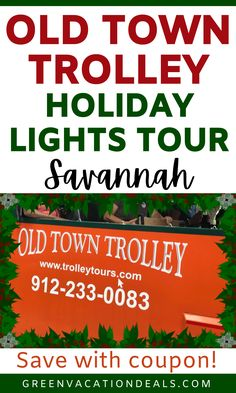 Savannah holiday travel advice - get into the Christmas spirit with the Old Town Trolley's Holiday Lights Tour in Savannah, Georgia! This is a fun, family friendly event. During a trolley ride through Savannah, you'll enjoy seeing beautiful Christmas decorations & historic homes while getting to sing Christmas Carols! You'll learn tales of beloved holiday traditions & you'll even have a chance to meet Santa Claus. Find out more including how to save money on this classic holiday event…