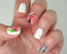 Carnival Nails / red top tent/ balloons Circus Nails, Carnival Nails, Nail Time, Party Nails, Red Nails, Pedicure, Balloons, Nail Designs, Make Up