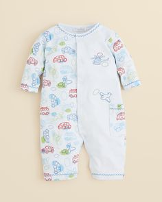Kissy Kissy Baby Boys' Pima Cotton On the Move Playsuit features cars, planes and helicopters