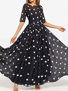 Round Neck Ruffled Hem Printed Maxi Dress. Trendy DressesCheap DressesWomen s  Fashion DressesCute DressesSummer ... fe46ca299