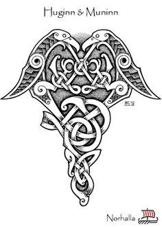 Hugin and Munin - Odin's Ravens Hugin and Munin - Scene from Children of Odin, republishing by Norhalla. Illustration by Micke Johansson, copyright No. Viking Symbols, Viking Art, Viking Runes, Celtic Symbols And Meanings, Viking Knotwork, Viking Woman, Tatto Viking, Viking Tattoos, Warrior Tattoos