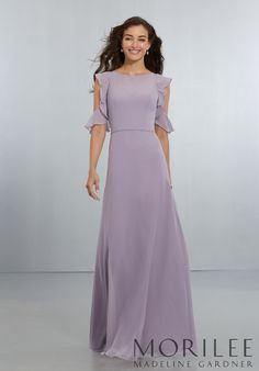 Morilee | Madeline Gardner, Chiffon Bridesmaids Dress with Flounced Sleeve Detail and Criss Cross Back Style 21552 | Sophisticated, A-Line Chiffon Gown with Stylish, Flounced, Cold-Shoulder Detail and Criss-Cross Back Straps with Zipper Back. Shown in French Lilac. Available in 37 colors.