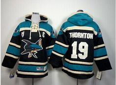 Youth NHL Sharks  19 Joe Thornton Black Sawyer Hooded Sweatshirt Jersey Joe  Thornton 915bb2c2b