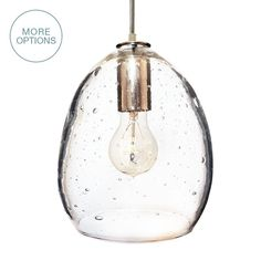 Beautifully simple handblown seeded glass pendant light. Choose from a variety of cord and finish options. Capturing the origins of delicate and elegant handblown glass, the Luce collection warms you