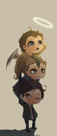 Dean, Sam and Castiel... only real friends would help a fallen angel regain his halo...:-)  ✪ #SPN