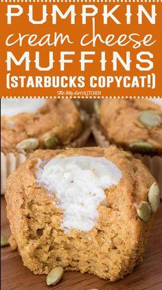 So moist and flavorful - Pumpkin Cream Cheese Muffins from ThisSillyGirlsKitchen.com