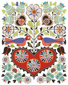 "Christine Stalder is an illustrator and designer living in Kansas City, Missouri and her work is both intricate and elaborate in design. She describes her work as ""fun, modern take on a combination of my two stylistic loves . . . folk art and mid century mod."""