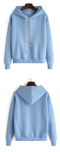 Plain hooded drawstring loose sweatshirt in blue.That's so adorable & versatile ! Click for same pink sweatshirt and more.