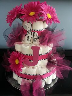 Diaper cake pink and zebra--might have to be a neutral color though