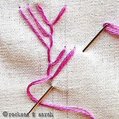 Maidenhair Stitch -Variation of Feather Stitch. Sewing Secrets: 10 Stitches to Build Your Hand Embroidery Skills Embroidery Stitches Tutorial, Hand Embroidery Patterns, Embroidery Techniques, Ribbon Embroidery, Embroidery Applique, Cross Stitch Embroidery, Cross Stitch Thread, Feather Stitch, Sewing Crafts