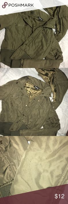 "Olive green hoodie jacket 100% polyester.  Detachable hoodie. Size small. Worn less than 3 times. Light stain please See picture. 19.5"" long. Sleeve length: 23.5"" Jackets & Coats"