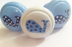 Whale Drawer Knobs for your Dresser in White, Baby Blue and Navy Blue with Polka Dots