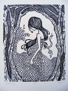 """""""Awakening"""" Woodcut Print"""