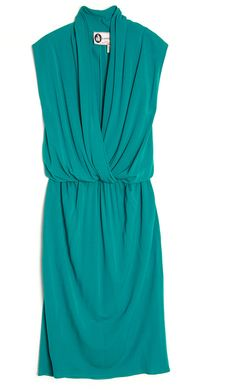 LANVIN. Green V-Neck Drape Dress  Sleeveless jersey dress with draped front. V-neckline, elastic waistband, front pockets.