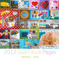 Quiet Book Pages from January through June - loads of free patterns for quiet book pages