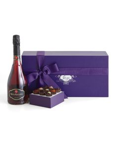 The famed Exotic Truffle Collcetion is paired with a beautiful rose-colored sparkling wine that is as effervescent as your love. A memorable gift for you loves this Valentine's Day. An online exclusive!