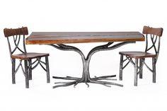 60L x 24D x 18H Cocktail Table Shown in Walnut Slab Danish Oil. Metal finish in Natural Steel.