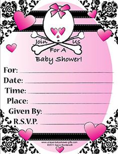 Print your own invitations~A Goth Baby Shower Is One Of The Most Unique Baby Shower Themes