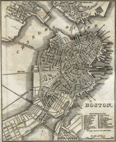 Old map of Boston. It's especially cool that you can see the names of all the old wharfs (wharves?).