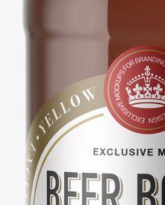40oz Amber Glass Bottle with Light Beer Mockup (Close-Up)