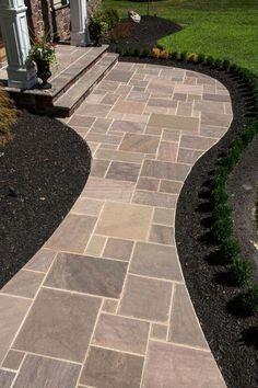 Amazing 45 Most Popular Backyard Paver Patio Design Ideas 2019 51 - DecoRecent Cheap Landscaping Ideas, Home Landscaping, Front Yard Landscaping, Patio Ideas, Walkway Ideas, Pavers Ideas, Backyard Ideas, Outdoor Ideas, Sidewalk Landscaping