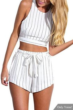 Stripe Pattern Sleeveless Crop Top & Belt Shorts Co-ord - US$11.99 -YOINS