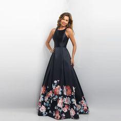 366d5ba4b70 Floral Print Flowers A-Line Backless Prom Evening Dress