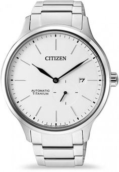 Citizen is a titanium watch that comes with an automatic movement, a white dial, and a titanium bracelet. Titanium Watches, Mens Watches For Sale, Affordable Watches, Online Watch Store, Citizen Eco, Titanium White, Automatic Watch, Chronograph, Rolex Watches
