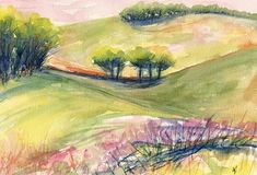 Original watercolor landscape painting Landscape Memory No. 2