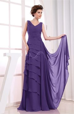 Dark Purple Evening Dress - Elegant A-line Sleeveless Zip up Chiffon Floor Length