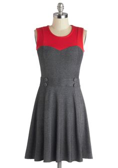 Chic Commute Dress in Grey. While youre usually in the mood for a nice chat with your neighbor on the bus ride to work, this morning youre savoring time to yourself with a cup of tea, upbeat songs pumping through your headphones, and this A-line dress from Ruby Rocks! #grey #modcloth