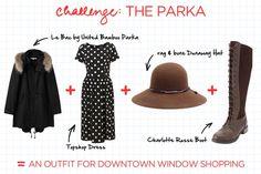 parka, long dress, hat, tall boots