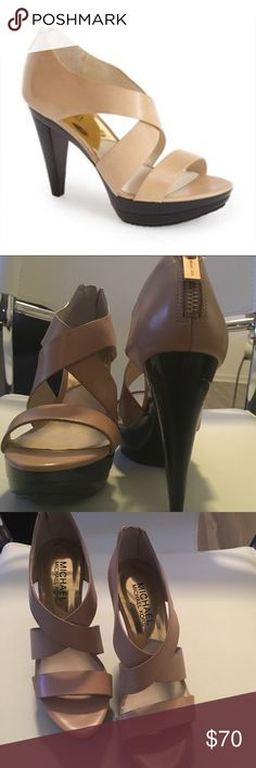 Michael Kors size 4 Elena heels Gorgeous Michael Kors size 4 heals. Listed as a 5 because there is no size 4 option. Never been worn and in perfect condition!!! Michael Kors Shoes Heels