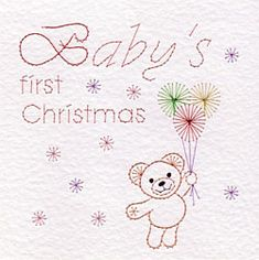 PinBroidery Stitching Cards Baby's first Christmas/Birthday Square