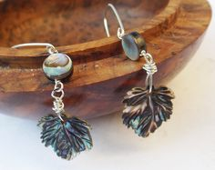 Abalone earrings, carved shell, shell earrings, sterling silver, handcarved shell, abalone leaves, rainbow colours, drop earrings by graciedot on Etsy