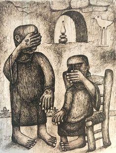 Hamed Nada, Figures, 1947, encre sur papier, 35,5x27cm, Coll part. Doha