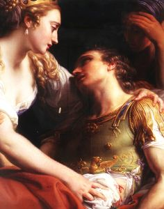 Here is a beautiful rendition of Marc Antony and Cleopatra. Antony's fall led to the triumph of Octavian, who then changed his name to Augustus. Pompeo Girolamo Batoni: Cleopatra and Markus Antonius Renaissance Paintings, Renaissance Art, Renaissance Dresses, Classic Paintings, Beautiful Paintings, Romantic Paintings, Mark Antony, National Gallery, Baroque Art