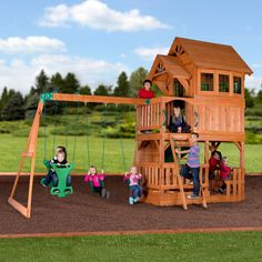 The Liberty II Wooden Swing Set has an awesome raised clubhouse topped by a wooden roof, with sides, bay windows, dormers, and a covered front porch.