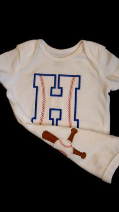 Baby Boy Onesie  Baseball  Monogram Baby Boy Clothes Perfect for Twins Boy Gift Set. $22.90, via Etsy.
