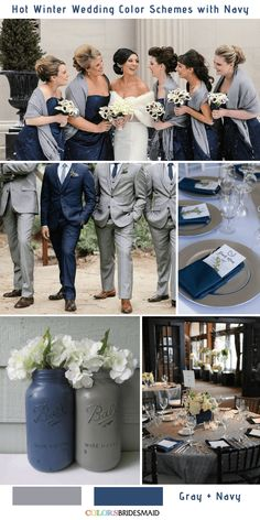 Navy Blue is a rich color that matches many colors and make your winter wedding color palette perfect. Here weve got 9 gorgeous navy blue wedding color combos to inspire you for your winter big day. Check for inspiration Grey Winter Wedding, Fall Wedding, Dream Wedding, Diy Wedding, Trendy Wedding, Winter Blue, Navy Blue Wedding Theme, Tuxedo Wedding, Wedding Themes For Winter