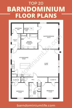 Barn Homes Floor Plans, Pole Barn House Plans, Bedroom Floor Plans, Pole Barn Homes, Ranch House Plans, New House Plans, Dream House Plans, Cabin Plans, Small House Plans