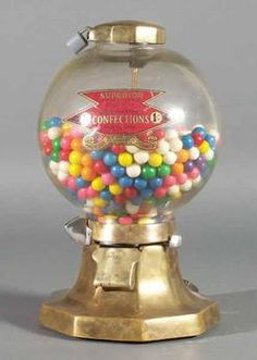 Superior Confections, Gum Ball, 1 Cent, 14 inchA Superior Confections glass globe gumball vending machine